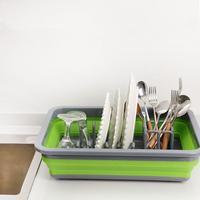 Foldable Dish Rack Kitchen Storage Holder Drainer Bowl Tableware Plate Portable Drying Rack Home Shelf Dinnerware Organizer