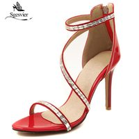 SGESVIER Women Sandals 2018 Fashion Summer Gladiator Sandals Woman Shoes Zipper Thin High Heel Party Wedding