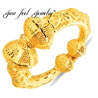 JUST FEEL India Brass Openable Bangle Bracelet Gold Color Leaf Luxury Copper Dubai Bride Turkey African Jewelry Middle East Item