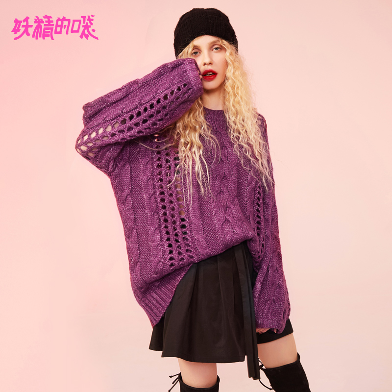 ELF SACK Purple Loose Streetwear Sweater 18302020
