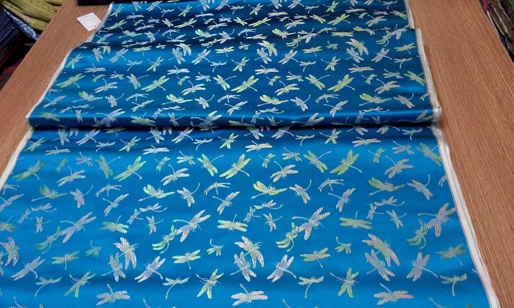 tissu de brocart de soie traditionnelle chinoise lac bleu dos avec - Arts, artisanat et couture