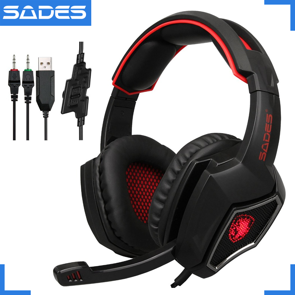 SADES Spirit Wolf 3.5mm Wired Gaming Headset with Microphone,Deep Bass Noise Isolating, Volume Control, LED Lights for PC laptop sades spirit wolf usb 7 1 stereo gaming headphones with microphone led for computer laptop bass casque pc gamer wired headset