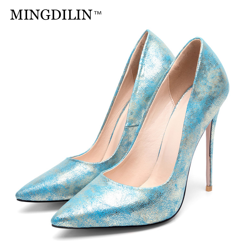 MINGDILIN Stiletto Women's Golden Pumps Wedding High Heels Shoes Plus Size 43 Party Woman Shoes Fashion Sexy Pointed Toe Pumps summer bling thin heels pumps pointed toe fashion sexy high heels boots 2016 new big size 41 42 43 pumps 20161217