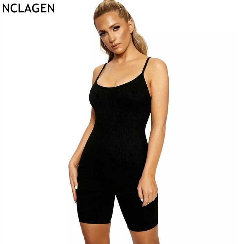 NCLAGEN 2019 Women Slim Fitness Casual Spaghetti Strap Playsuits Sexy High Waist Overalls Stretched Bottoming Black Clothing