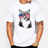 2017 New Fashion American Flag Glasses Cat Design Men T Shirt Short Sleeve Hipster Brand Hip
