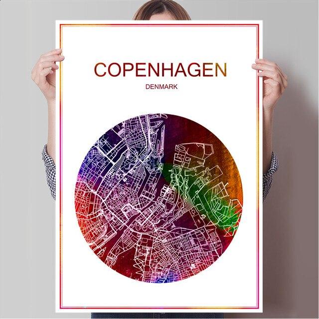 World famous city map copenhagen denmark print poster print on paper or canvas wall sticker bar