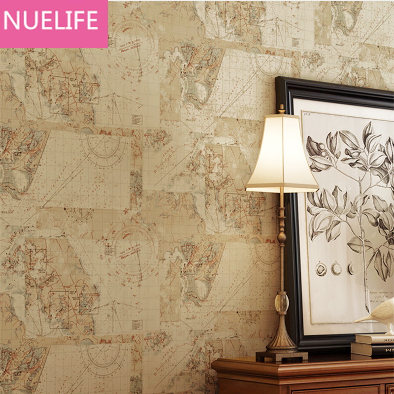0.53x10 Meter Retro European World Map Pattern Wallpaper Study room Bar Cafe Restaurant Bedroom Living Room Background Wallpaper