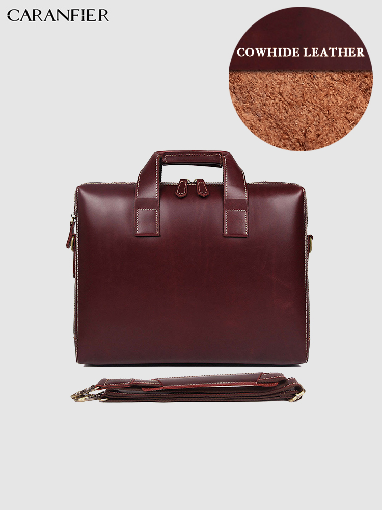 CARANFIER Mens Briefcase Travel Bags Genuine Cowhide Leather Large Capacity Computer Business Fashion High Quality Tote Bag 2019