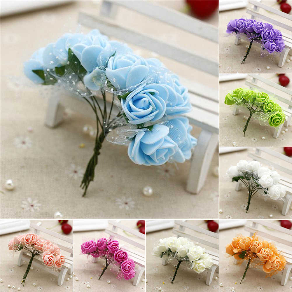 Candy box 2.5cm Foam Artificial Flower Fake Rose Bouquet Wrist Flowers Home Wedding Party Decoration Fake Peony Rose Flower