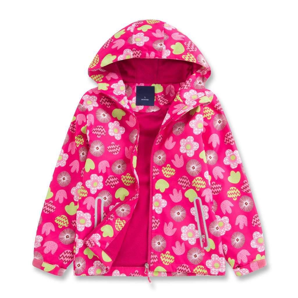 Flower Hooded Jacket Polar Fleece Lining Warm Sporty Coat Children Waterproof Breathable Cardigan Outerwear Girls Windbreaker