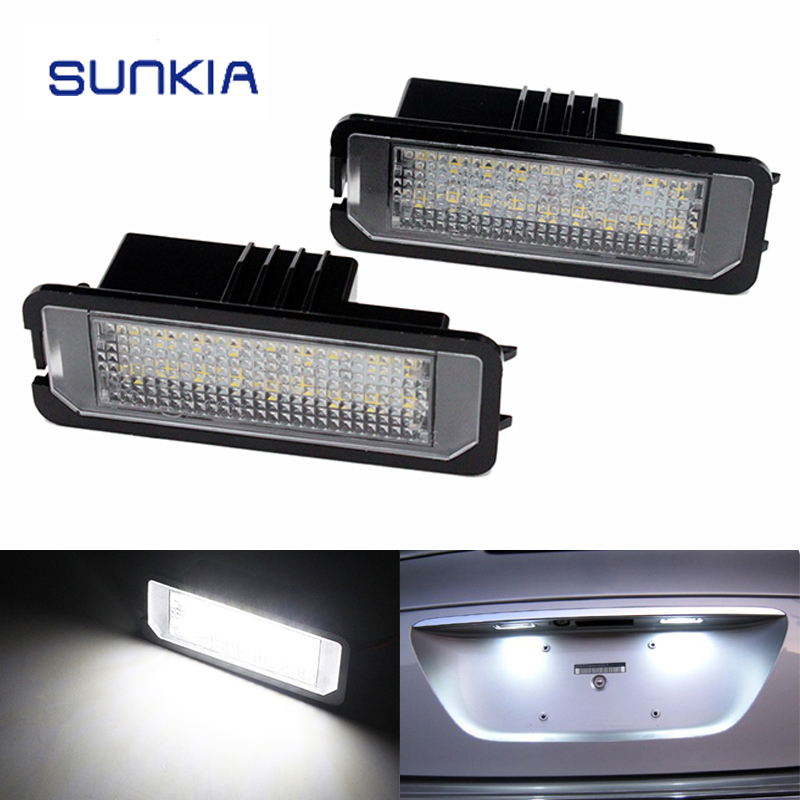 2pcs/set SUNKIA LED 18 SMD Canbus Error Free Car LED Rear License Plate Light Lamp 12V DC White 6000k for Skoda Superb 2pcs lot 24 smd car led license plate light lamp error free canbus function white 6000k for bmw e39 e60 e61 e70 e82 e90 e92