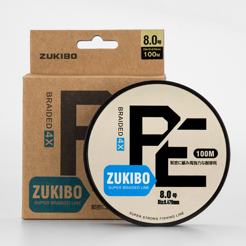 ZUKIBO Wear-resistant Braided Fishing Line 100M Imported PE Braided Fishing Rope 4 or 8 Stands Freshwater/Saltwater