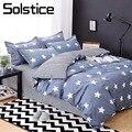 Solstice домашний текстиль для детей-подростков Комплект постельного белья для мальчиков в синюю полоску со звездами  пододеяльник  наволочка  ...