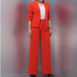Пользовательские моды Новые однотонные элегантные дамы костюм из двух частей куртка + свободные штаны женские деловой строгий костюм