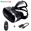 Óculos virtuais 3d shinecon vr 2.0 ii de realidade virtual 3 d vr headset capacete montar cabeça vrbox + bluetooth remoto controlador