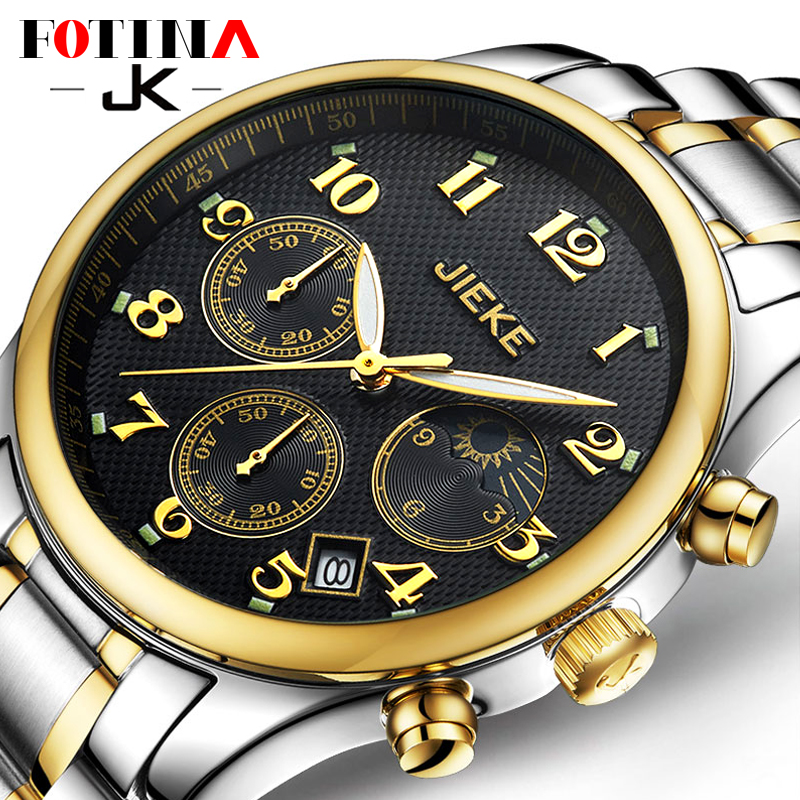 Small Dials Can Work Luxury Brand JK Gold font b Watch b font Men Full Steel