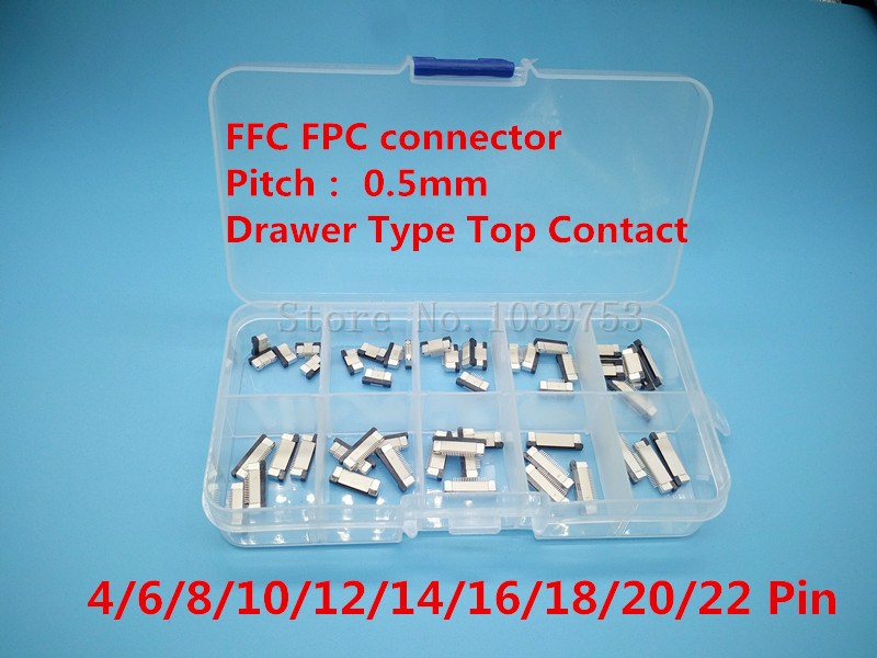 50pcs FFC FPC connector 0.5mm 4/6/8/10/12/14/16/18/20/22 Pin Drawer Type Top Contact Flat Cable Connector Socket Sets 10 pcs fpc ffc 1mm pitch 22 pin drawer type ribbon flat connector bottom contact