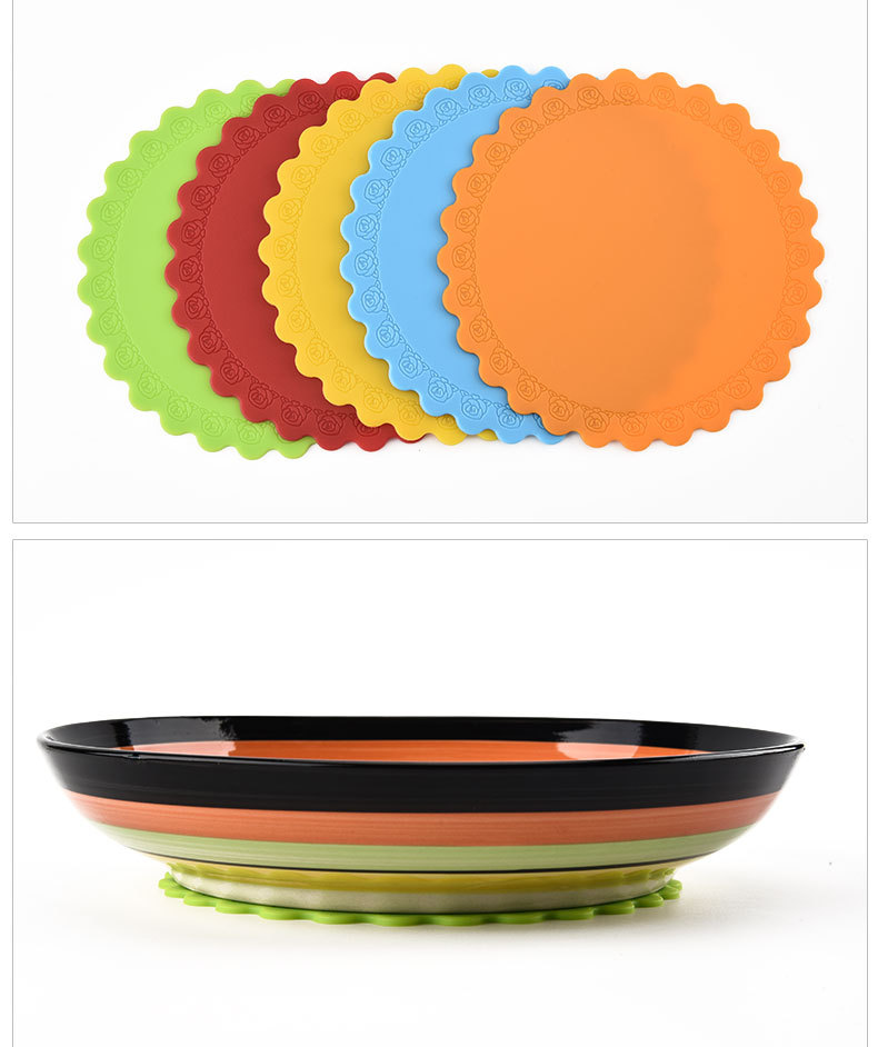 14.5*14.5CM Flower Side Silicone Pot Table Mats Non-slip Cooking Backing Kitchen Gadgets Tools Soup Pot Holder Coaster Placemat