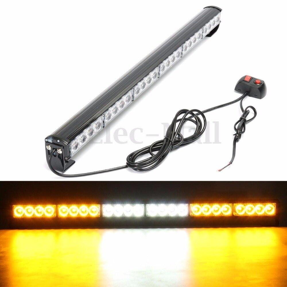 "24 LED 27/"" Amber Yellow Emergency Traffic Advisor Flash Strobe Light Bar Warning"