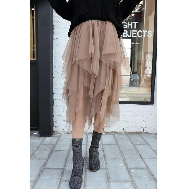 Fashion Elastic High Waist Long Tulle Skirt Women Irregular Hem Mesh Tutu Skirt 2018 Spring Party Skirt Ladies faldas detul