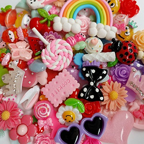 250pcs Craft Lots Mix Assort DIY Flatbacks Resin Flat Back Buttons Scrapbooking Slime Charm