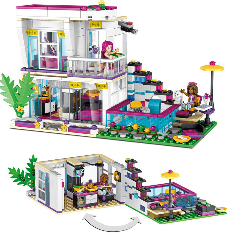 Friends Series Compatible Legoings 1040 Pop Star Livi's House Model Girls Building Blocks Sets Toys For Children Birthday Gifts 10406 girls pop star show stage building blocks set 448pcs assemble toys compatible with blocks for girls gift