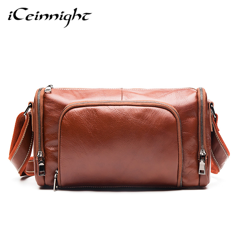 ФОТО iCeinnight Vintage Genuine Leather Man Bags Casual Messenger Bag Famous Brand Nature Cowhide Men Shoulder Crossbody Travel Bags