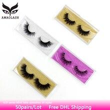AMAOLASH 50 Pairs Mink Lashes Luxury Natural Long False Eyelashes Cross Thick Extension Eyelash 33 Styles With Glitter Packaging