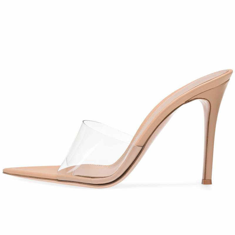 YECHNE 透明女性のスリッパ夏の女性のハイヒールの靴蛇行ピープトウシューズスリッパファッション透明スリッパ