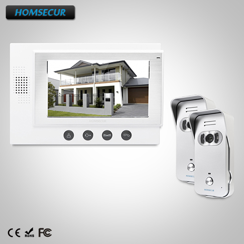 """HOMSECUR 7"""" Wired Video&Audio Home Intercom+Silver Camera for Home Security : TC021-S Camera (Silver)+TM701-W Monitor (White)"""
