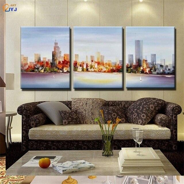 Cityscape Wall Art aliexpress : buy cityscape canvas painting art 100% handmade