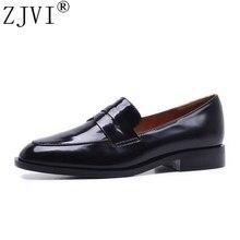 Купить с кэшбэком ZJVI woman 2019 genuine leather square low heels pumps womens fashion autumn winter shoes women sexy black round toe Lazy shoes