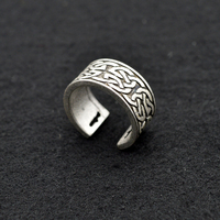 50pc Celtics Vintage Celtic Knot Ring Silver Black Biker Jewelry Opening Ring Punk Style Party Charm Ring For Women Men