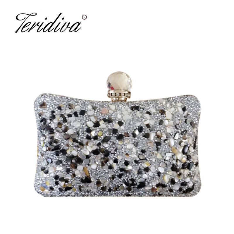 Reliable Fggs-embroidery Women Handbags Beaded Chain Accessory Metal Day Clutches Party Wedding Evening Bags One Side Diamonds Purse Selling Well All Over The World Top-handle Bags