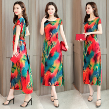 plus size S-6XL Summer 2019 new Bohemian women's cotton printed suspender dress woman sleeveless round neck loose beach dress недорого