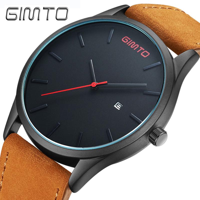 Prix pour Gimto top hommes simple quartz sport montres marque armée militaire montre relogio de quartz-montre horloge étanche poignet hommes masculino