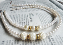 Childrens Hair Hoops with Pearl Inserted Drills Korean Princesss Hand-string Ornaments