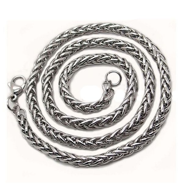 3/4/5/6MM Mens Silver Stainless Steel Wheat Braided Chain Necklace Jewellery New