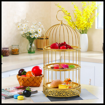 1PCS  European snack rack buffet snack rack fashion bird cage double-layer three-layer snack rack metal fruit plate