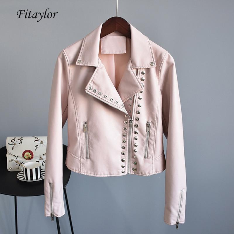 Fitaylor Autumn Faux Soft Leather Short Jacket Women Slim Black Punk Pu Motorcycle Rivet Zipper Jacket Female Bomber Outerwear