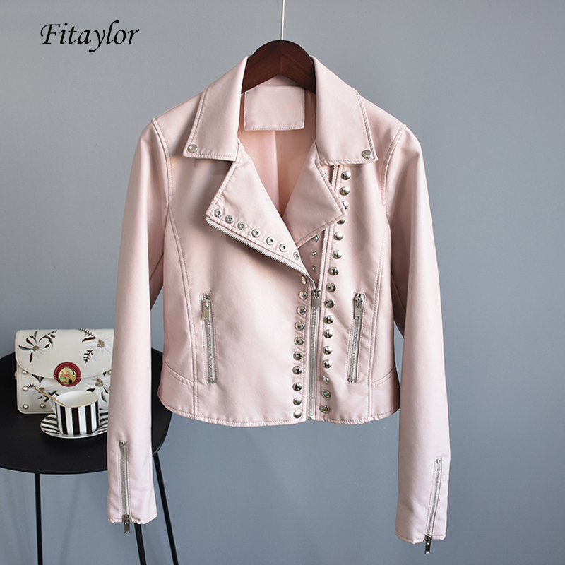 Fitaylor Autumn Faux Soft   Leather   Short Jacket Women Slim Black Punk Pu Motorcycle Rivet Zipper Jacket Female Bomber Outerwear