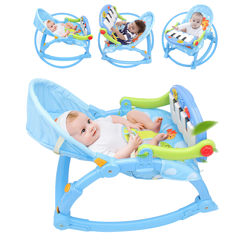 Baby Piano Music Gym Toys Care Chair Folding Infant Rocker Newborns Balance Chair Bed Baby Rocking Chair Baby Cradles Bed