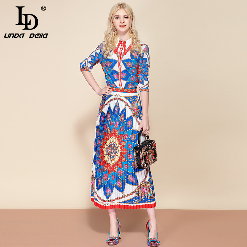 81bb84734e9 De Midi Imprimées Deux Femmes Jupes Plissées Multi Pièces Ensemble Linda  Vintage Blouses Costumes Della 2019 Mode ...