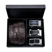 DiBanGu Fashion Casual Mens Belt Brown Automatic Buckle Belts for Men Gift Luxury Cowhide Leather Men Cowboy Jeans Belt