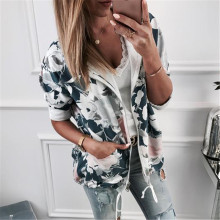2019 Autumn Fashion Women Sweatshirts Printed Hooded Jacket Zip Up Flower Coats Floral Print Hoodie Casual Female Tops Outwear flower print zip up jacket with pencil pants