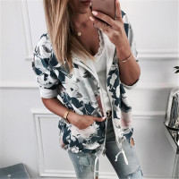 2019 Autumn Fashion Women Sweatshirts Printed Hooded Jacket Zip Up Flower Coats Floral Print Hoodie Casual Female Tops Outwear