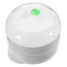 2 Tier microondas vapor vegetal con tapa, libre de bpa, blanco, juego de la pequeña cocina o ocupado cocinero K112