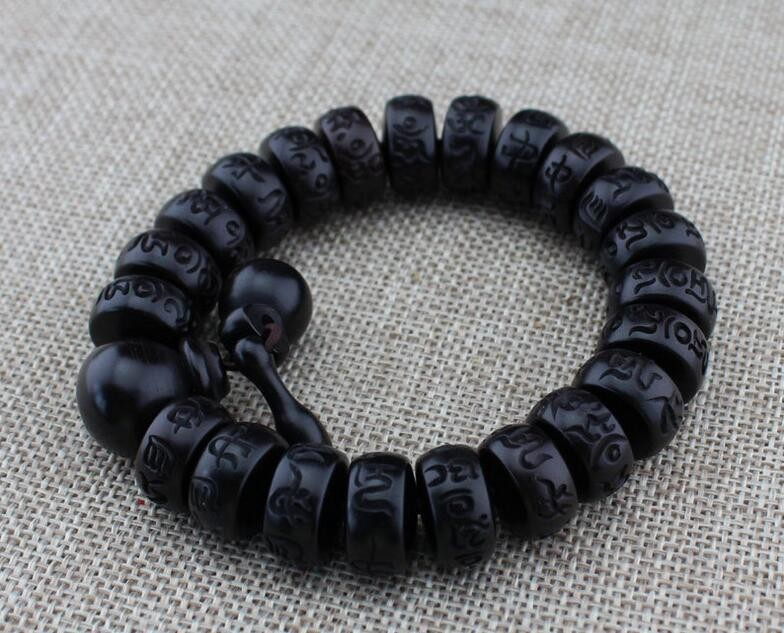 2pce/lot Natural lightning strike wood beads bracelet with a buddhist male hand chain meditation on men's wrist wooden bracelet