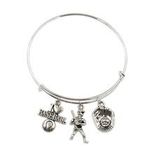 Women Bangles Glove-Pendant Baseball-Hat Charms Jewelry Gift Handmade for Souvenir Bat