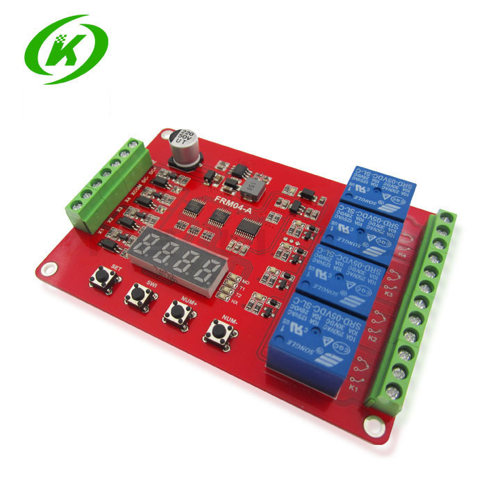 1PCS FRM04 / four multi function relay module / delay / lock / cycle / time / time relay 1pc multifunction self lock relay dc 5v plc cycle timer module delay time relay